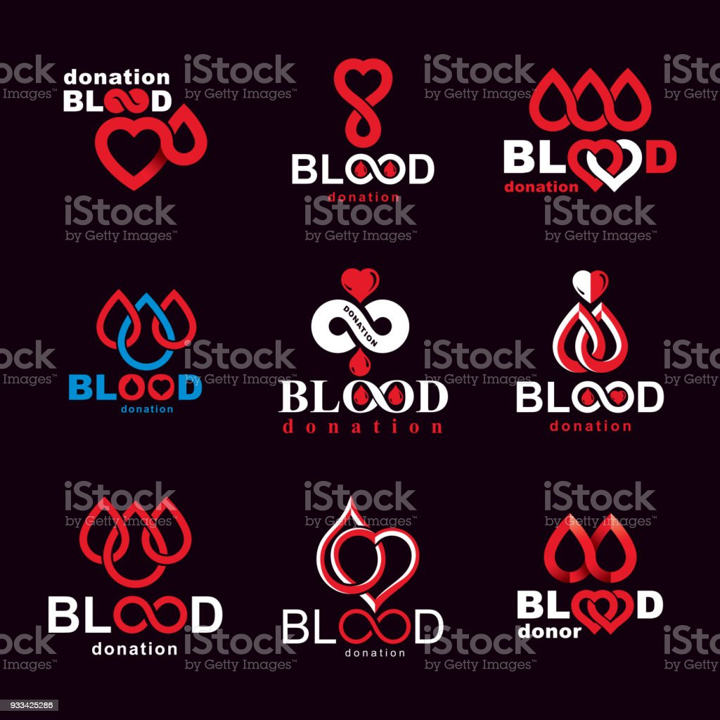 Set Of Vector Symbols Created On Blood Donation Theme Blood