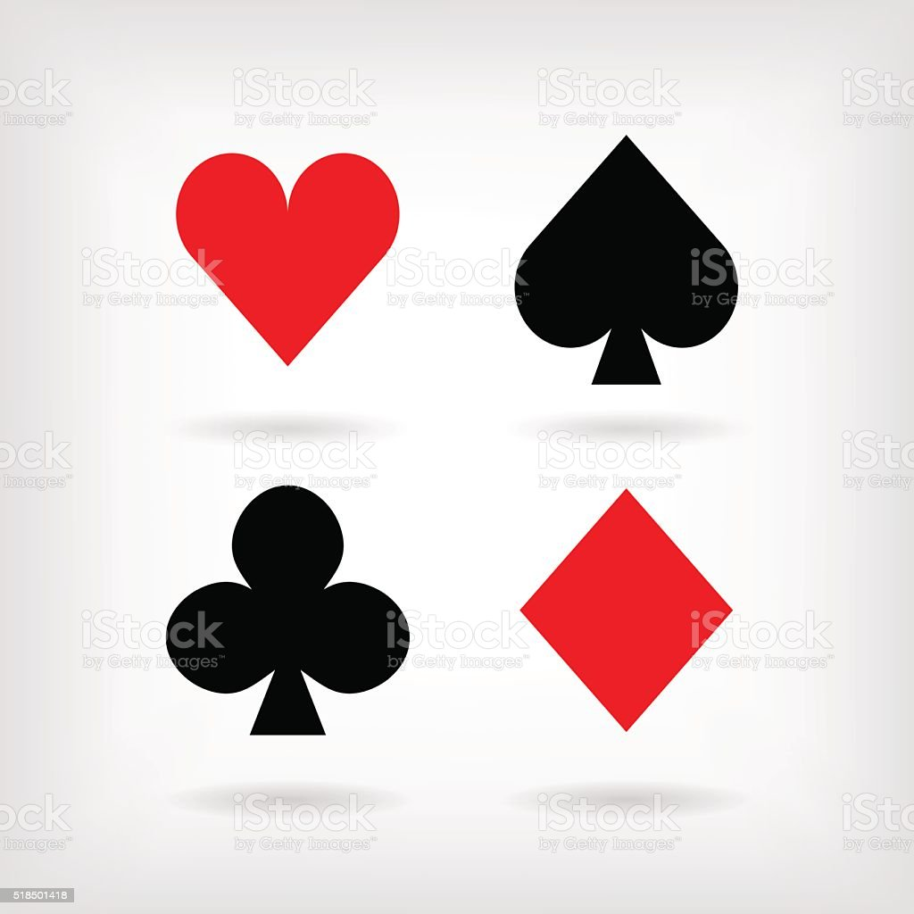 Set Of Vector Symbols Of Playing Cards Suit With Shadows Stock