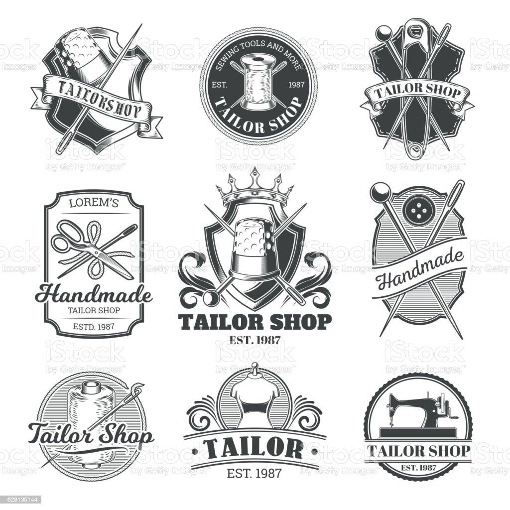 Set of vector tailor emblem, signage vector art illustration