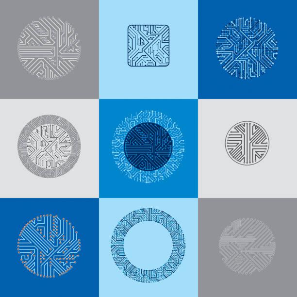 satz von vektor-technologie-cpu-designs mit quadratischen und runden mikroprozessor-systeme. computerplatinen mit multidirektionalen pfeile, digitale elemente. - farbchips stock-grafiken, -clipart, -cartoons und -symbole