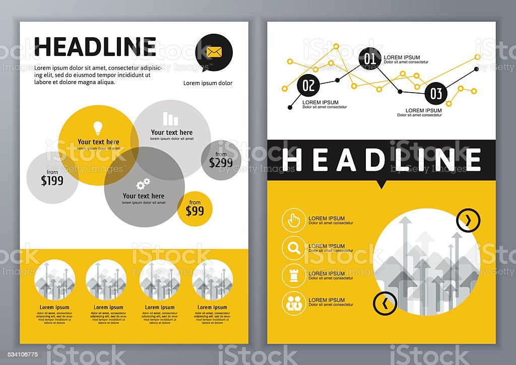 Set of vector template for brochure, flyer, application, online service. vector art illustration
