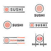 Set of vector template for sushi. Signs for restaurants of Japanese food