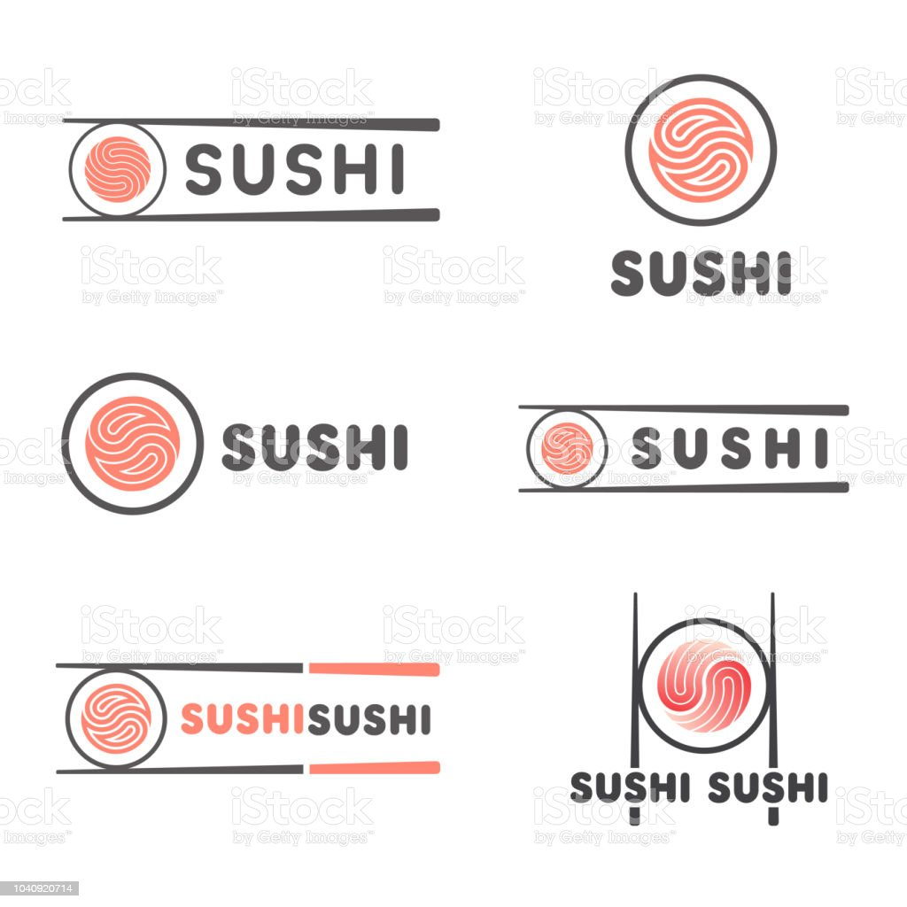 Set of vector template for sushi. Signs for restaurants of Japanese food vector art illustration