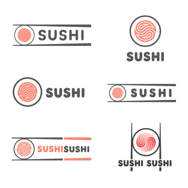set of vector template for sushi. signs for restaurants of japanese food - sushi stock illustrations