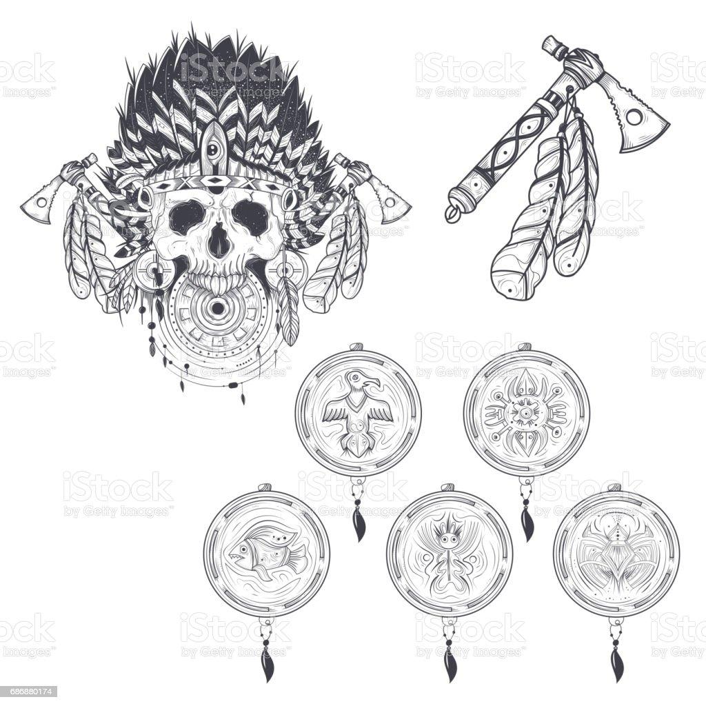 Ilustración de Conjunto De Plantillas Del Vector Para Un Tatuaje Con ...