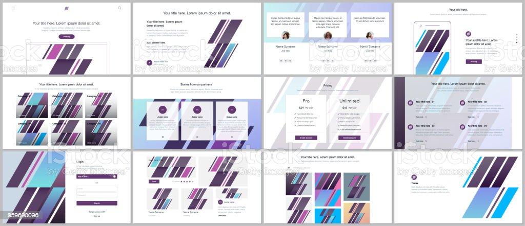 Reihe Von Vektorvorlagen Für Websitedesign Minimale Präsentationen ...