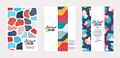 Set of vector templates. Hand drawn abstract shapes with different textures, spots and decorative elements