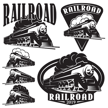 set of vector templates with a locomotive, vintage train.