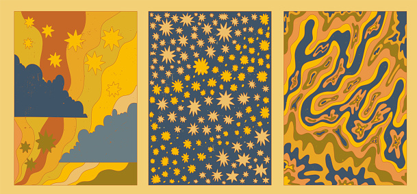 set of vector textured groovy posters.Funky psychedelic pattern.acid stains.Abstract boho postcard.Vintage card with waves, stars, clouds.Collection hippie aesthetics of the 60s and 70s.
