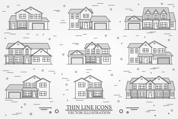 Set of vector thin line icon suburban american houses. For web Set of vector thin line icon suburban american houses. For web design and application interface, also useful for infographics. Vector dark grey. Vector illustration. house stock illustrations