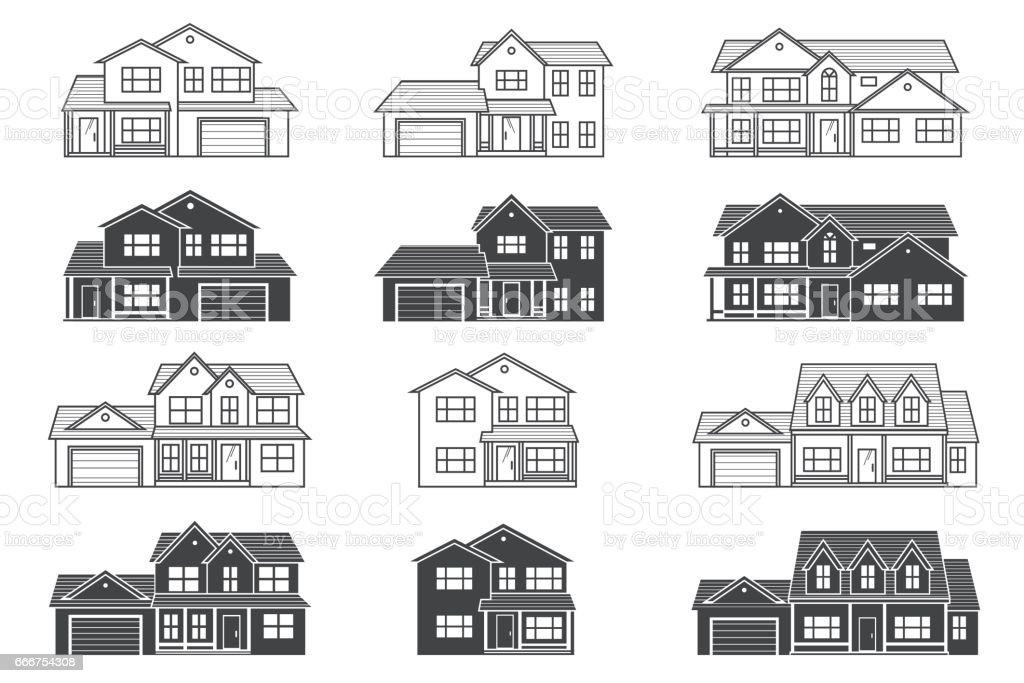 Set of vector thin line icon suburban american houses. For web vector art illustration