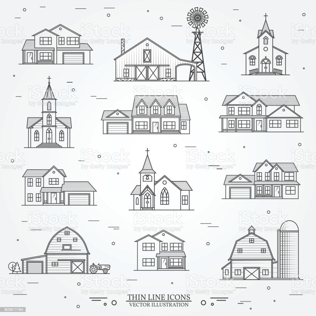 Set of vector thin line icon suburban american houses vector art illustration