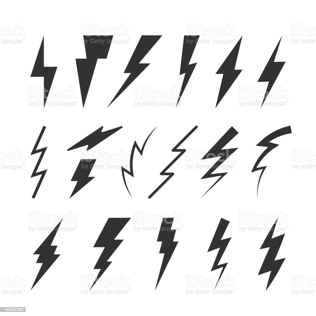 Set of Vector Thunderbolts Silhouettes vector art illustration