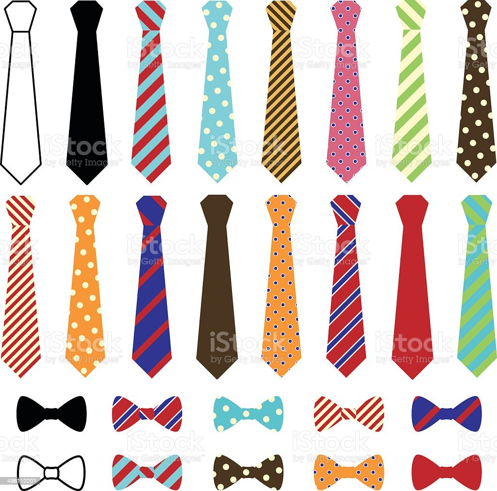 Set of Vector Ties and Bow Ties vector art illustration