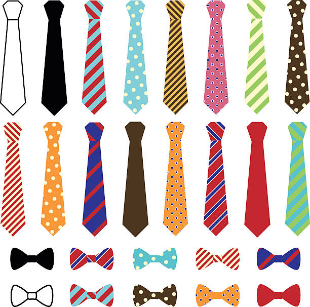 set of vector ties and bow ties - tie stock illustrations, clip art, cartoons, & icons