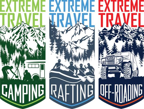 set of vector travel flayer illustration - camping, 4x4 off-roading and whitewater rafting vector art illustration