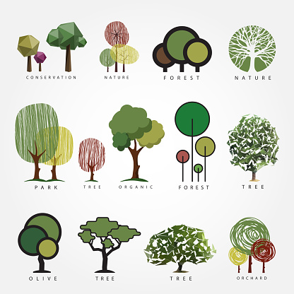 Geometric, stylized, hand drawn and polygonal style tree illustrations. Tree label, , icon, nature, eco, green, organic, outdoors design.