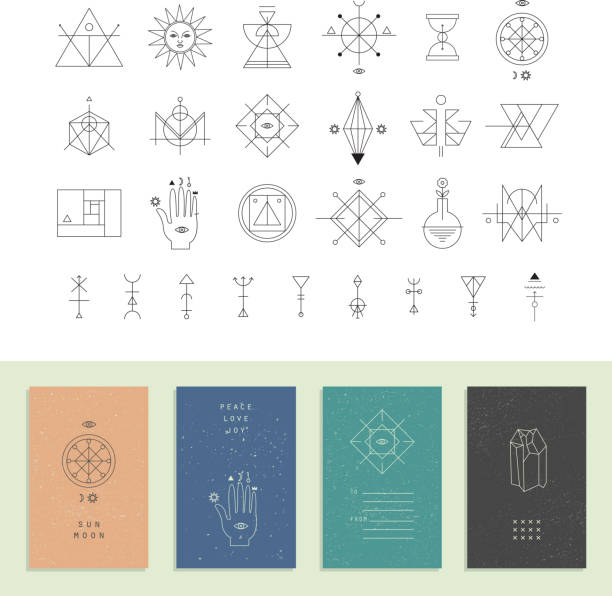 Set of vector trendy cards with geometric icons. Alchemy symbols vector art illustration
