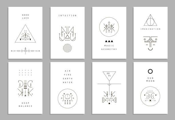 набор векторных иконок модные карт с геометрическим рисунком. alchemy символы - lodge member stock illustrations