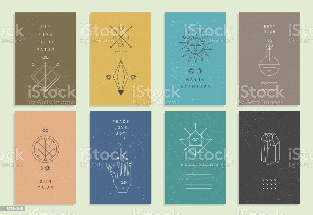 Set of vector trendy cards with geometric icons. vector art illustration