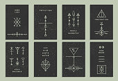 Set of vector trendy cards with geometric icons.