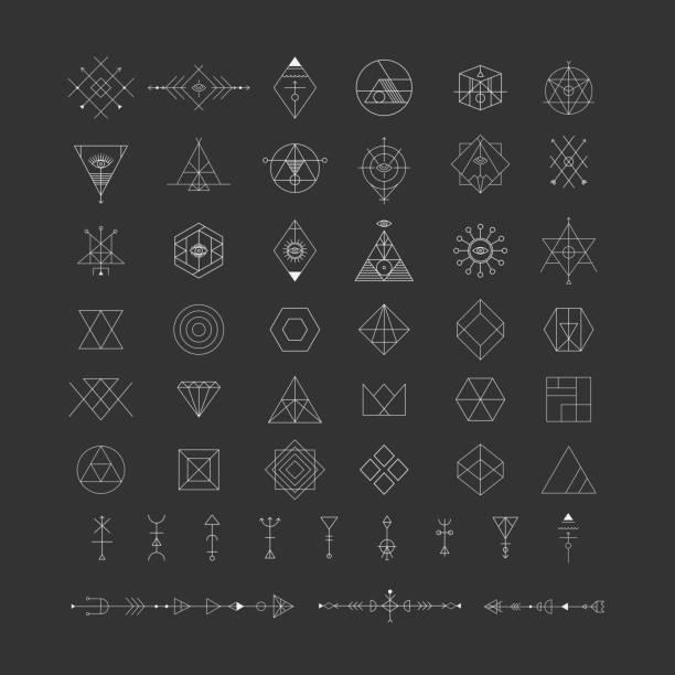 Set of vector trendy geometric icons. Alchemy symbols collection. vector art illustration