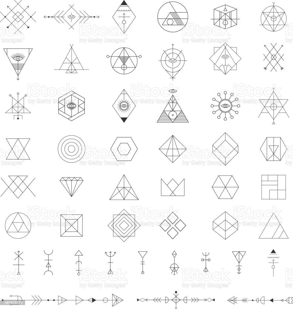 Set Of Vector Trendy Geometric Icons Alchemy Symbols ...