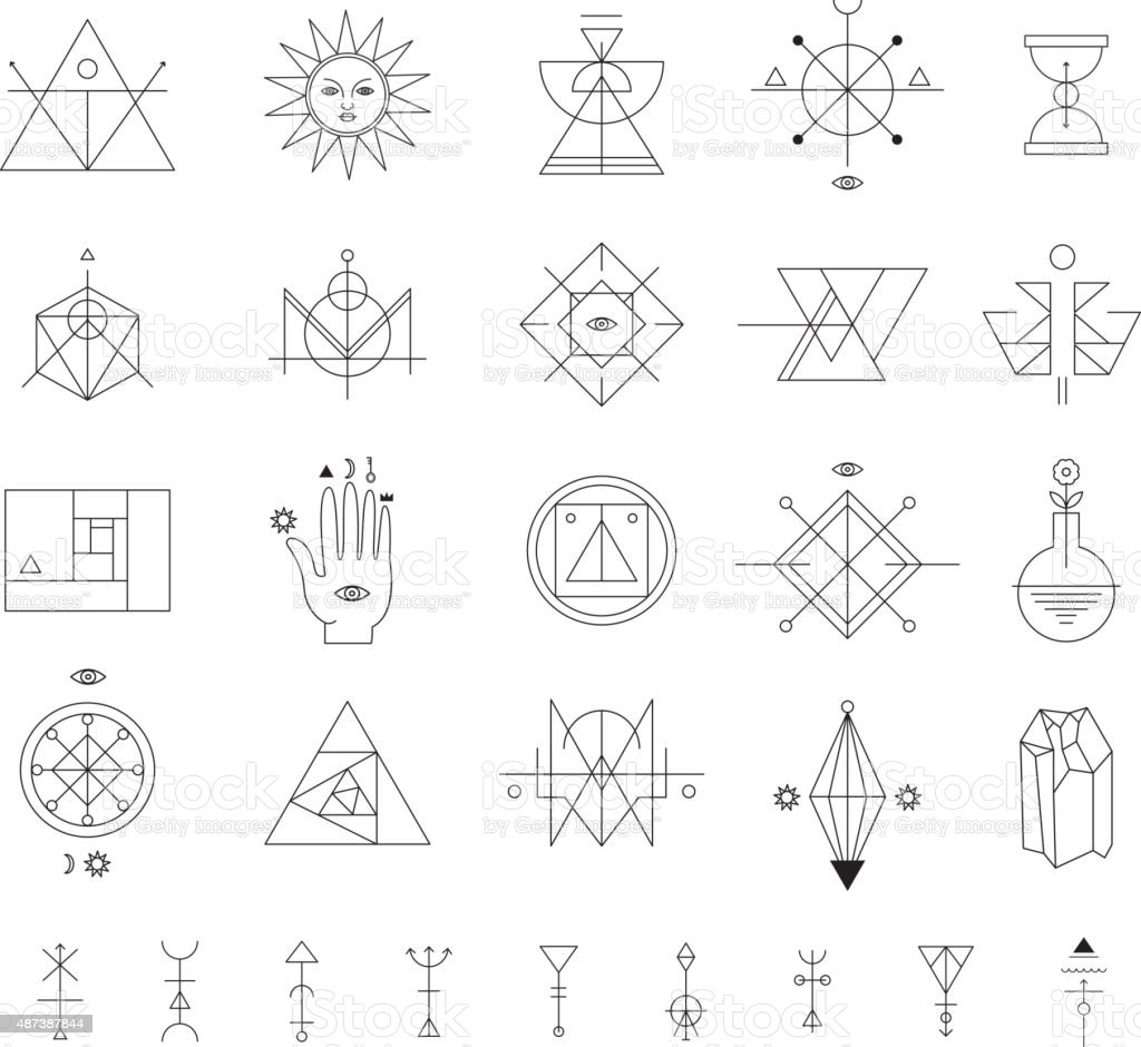 Set of vector trendy geometric icons. Alchemy symbols collection vector art illustration