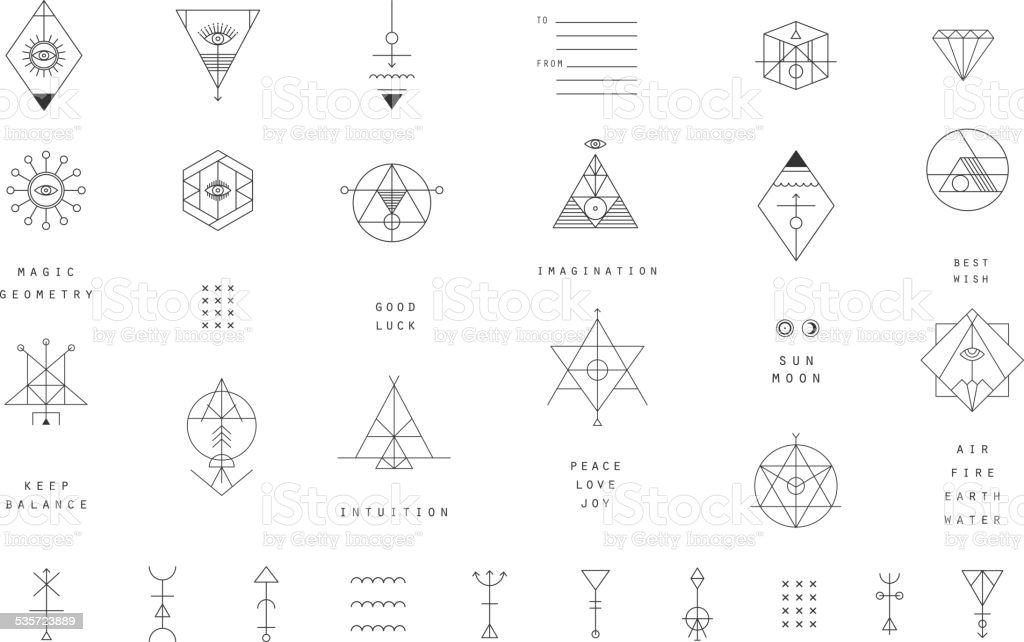 Set Of Vector Trendy Geometric Icons Alchemy Symbols Collection