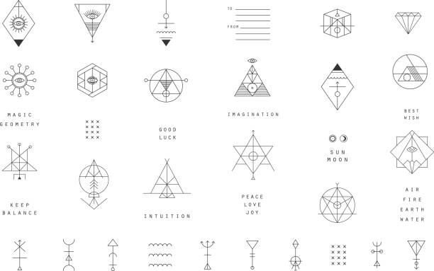 Set of vector trendy geometric icons. Alchemy symbols collection. vector art illustration