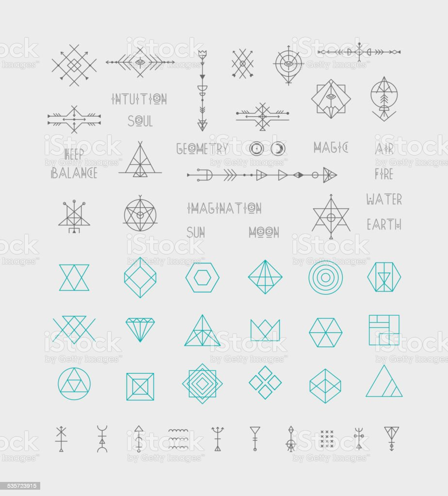 Set of vector trendy geometric icons alchemy symbols collection set of vector trendy geometric icons alchemy symbols collection royalty free set of biocorpaavc Choice Image