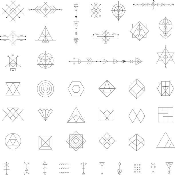 トレンディな幾何学模様のアイコンをベクトルします。 - 星のタトゥー点のイラスト素材/クリップアート素材/マンガ素材/アイコン素材