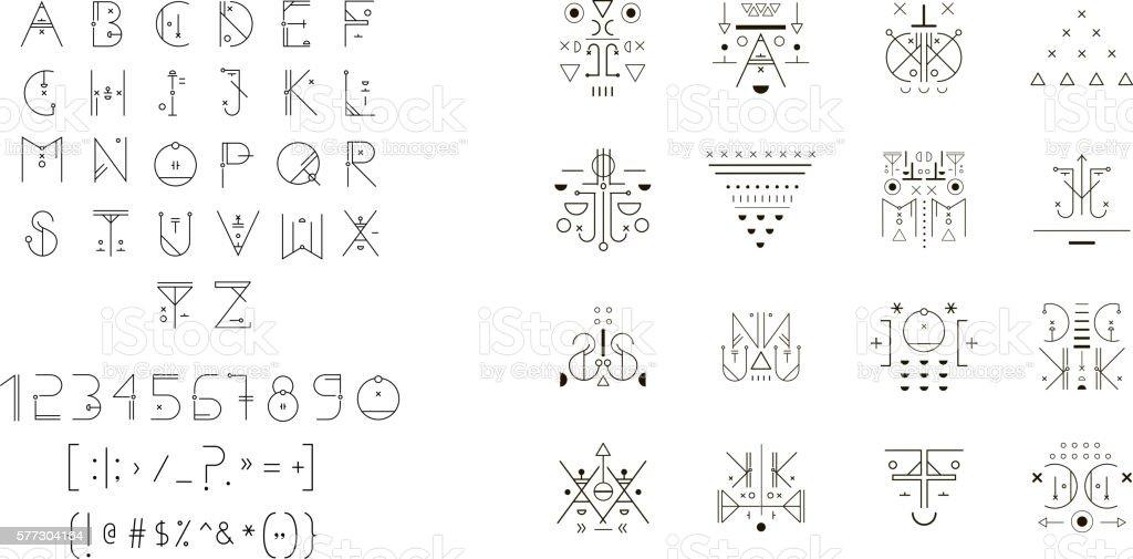 Set of vector trendy icons plus unusual geometric alphabet vector art illustration