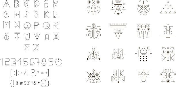 set of vector trendy icons plus unusual geometric alphabet - wissenschaftssymbole stock-grafiken, -clipart, -cartoons und -symbole