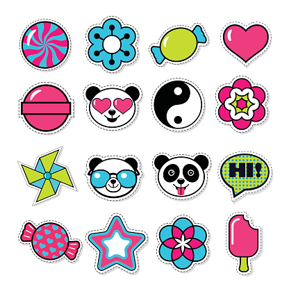 set of vector trendy patches