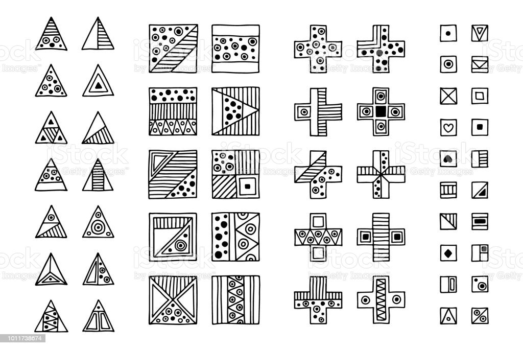 Set Of Vector Tribal Signs Symbols Icons Hand Drawn Elements For