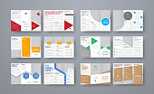 Set of vector trifold brochures with different geometric elements and space for photo. White templates for print, business and advertising.