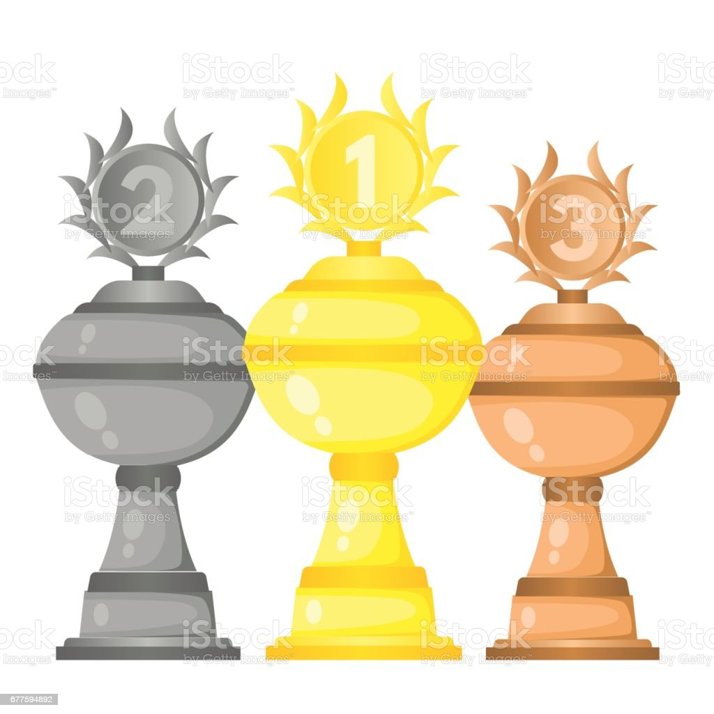 Set of vector trophy champion cups in gold, silver and bronze. royalty-free set of vector trophy champion cups in gold silver and bronze stock vector art & more images of achievement