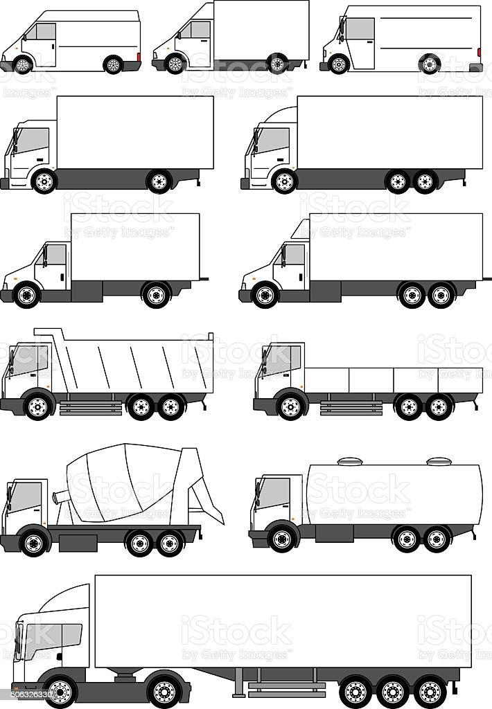 Set of vector trucks icons vector art illustration