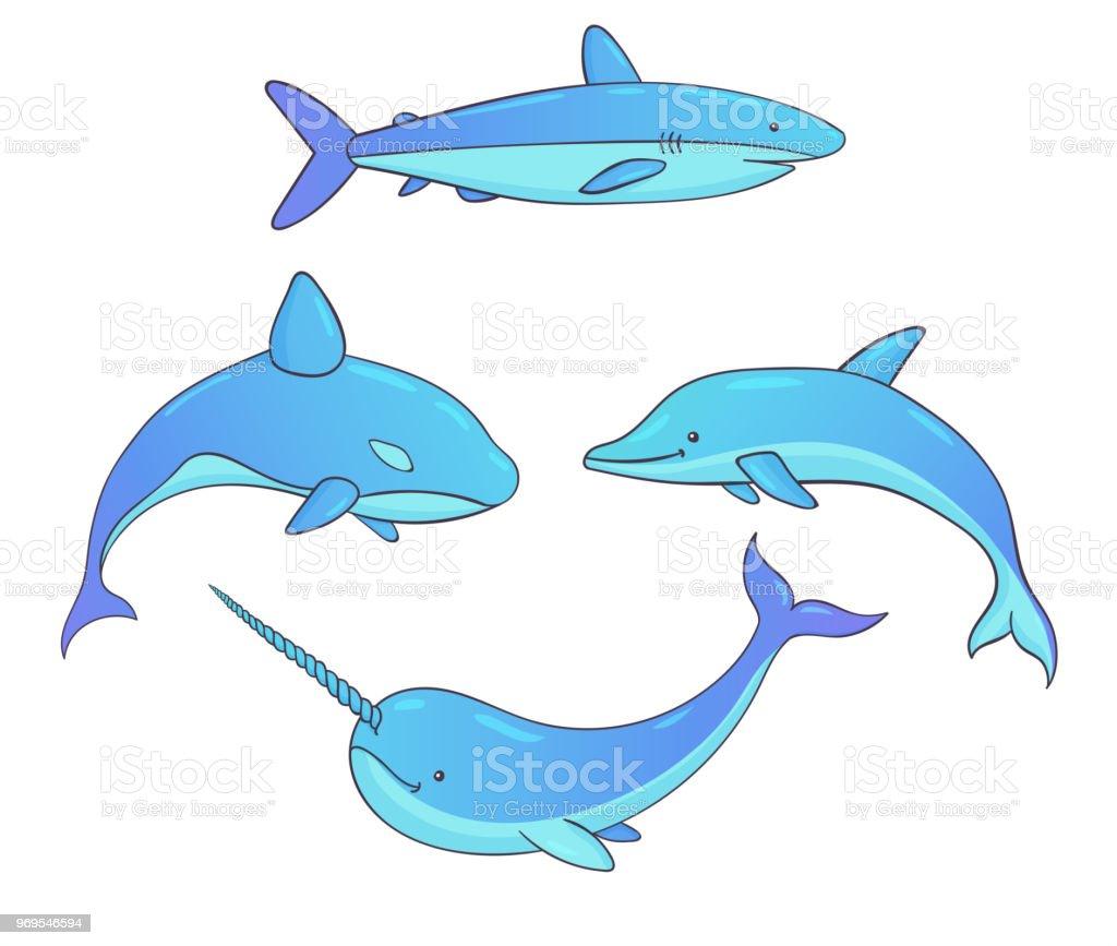 Ilustración de Conjunto De Criaturas Submarinas Vector Con Ballenas ...