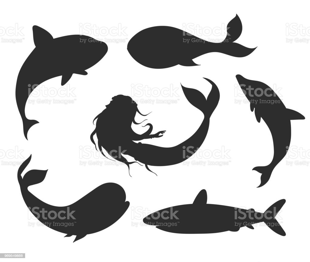 set of vector underwater life silhouettes with mermaid whales shark