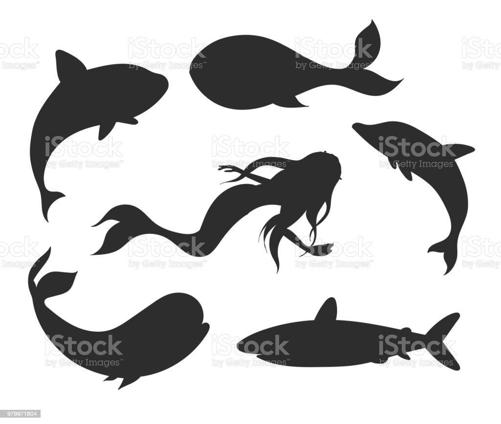 Ilustración de Conjunto De Siluetas De Vector Vida Submarina Con ...