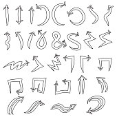 Set of  vector universal arrows symbols, thin, black on white background, doodle.