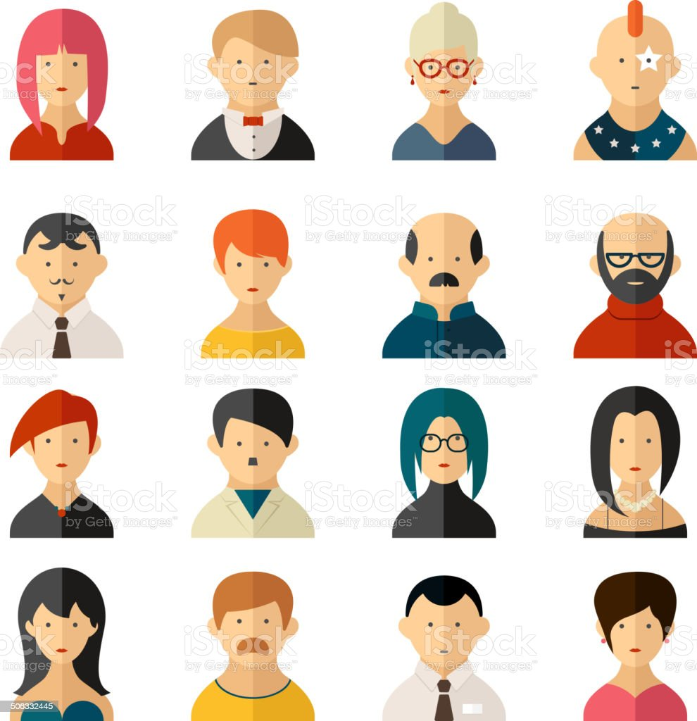 Set of vector user interface avatar icons vector art illustration