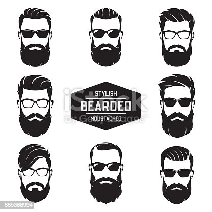 istock Set of vector various bearded men faces. 885368994