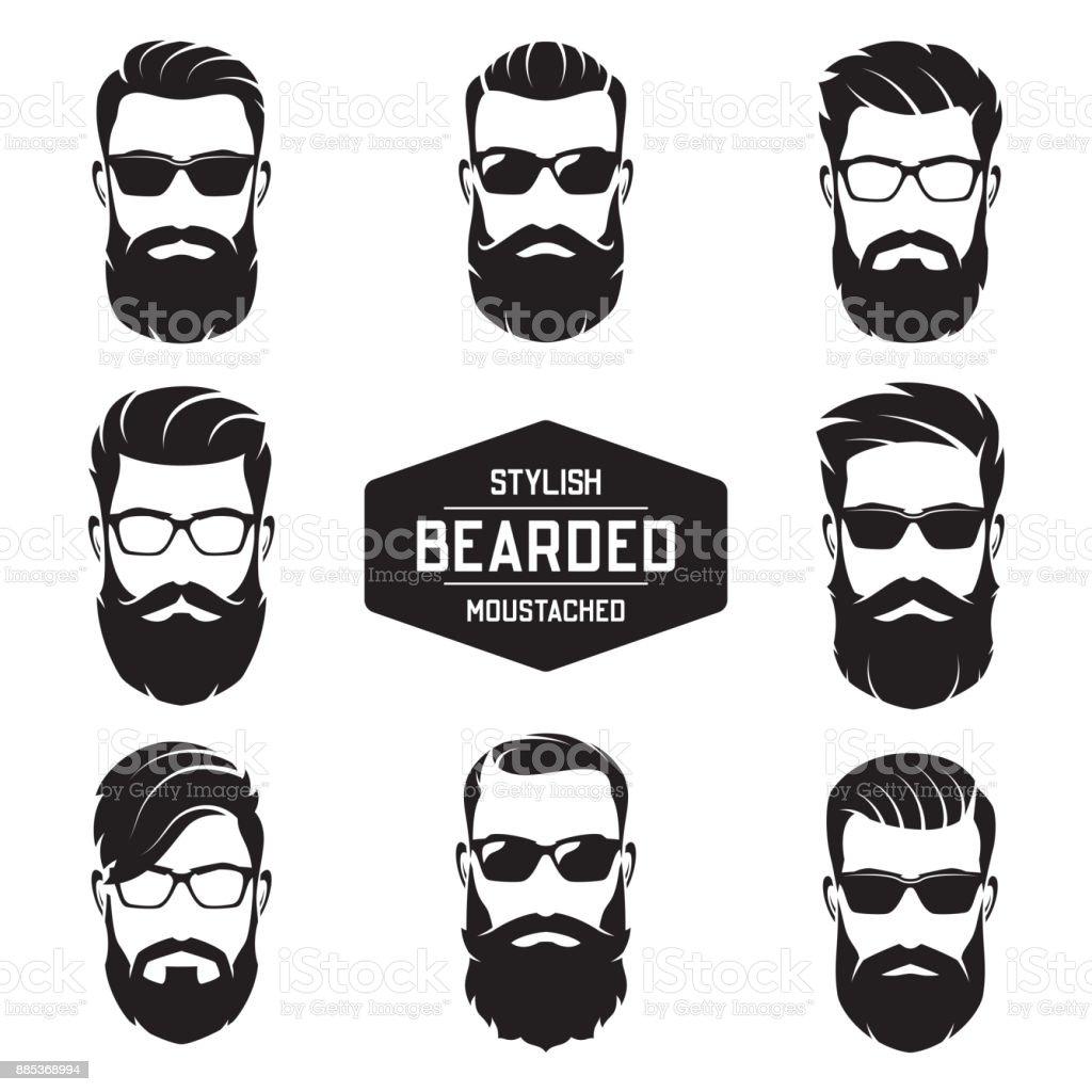 Conjunto de vetor vário barbudo rostos de homens. - ilustração de arte em vetor