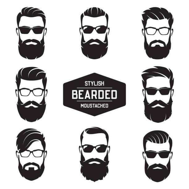 Set of vector various bearded men faces. vector art illustration