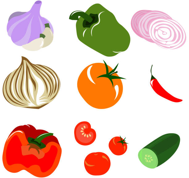 set of vector vegetables. - cherry tomato stock illustrations