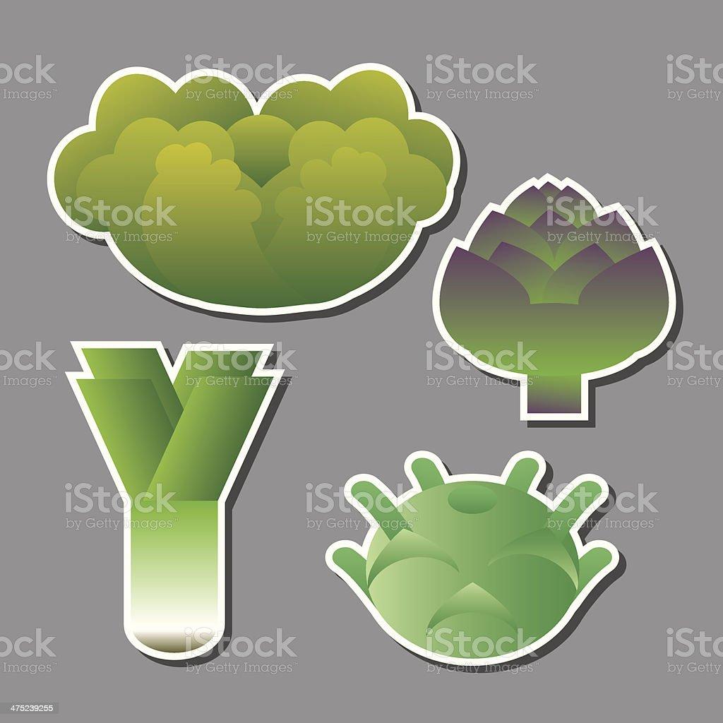 set of vector vegetables vector art illustration