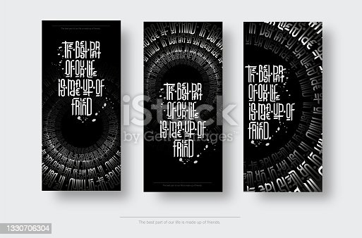 istock Set of vector vertical posters with gothic calligraphy, creative handicraft for design. 1330706304